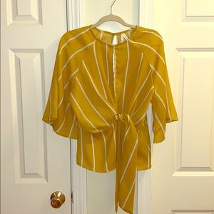 Tops - Yellow and white striped polyester keyhole blouse